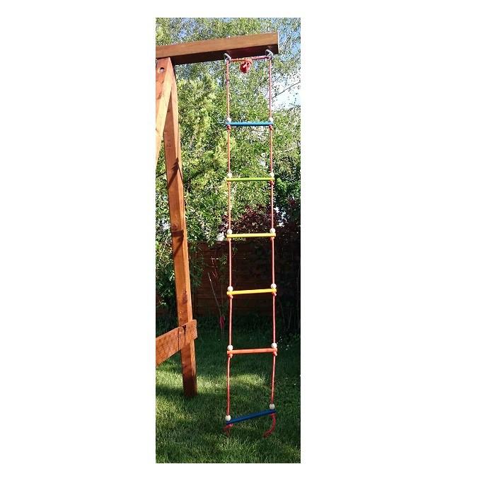 Дрвена въжена стълба с шест стъпала