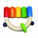 Дървена играчка Дрънкалка, цветни топчета