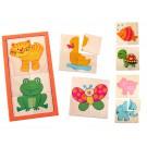 Дървена играчка Пъзел, 8 картини-животни