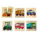 """Дървена играчка Дървени кубчета """" 6 Мотива/ Автомобили"""""""