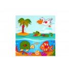 """Дървена играчка Пъзел с дръжки""""морски свят"""""""